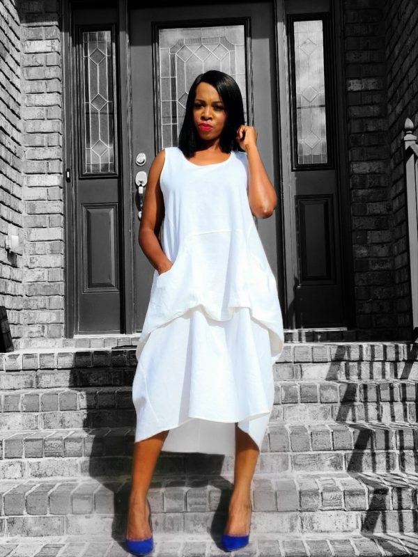 High Tone Fashion Ready to Wear Off White Tacked Dress